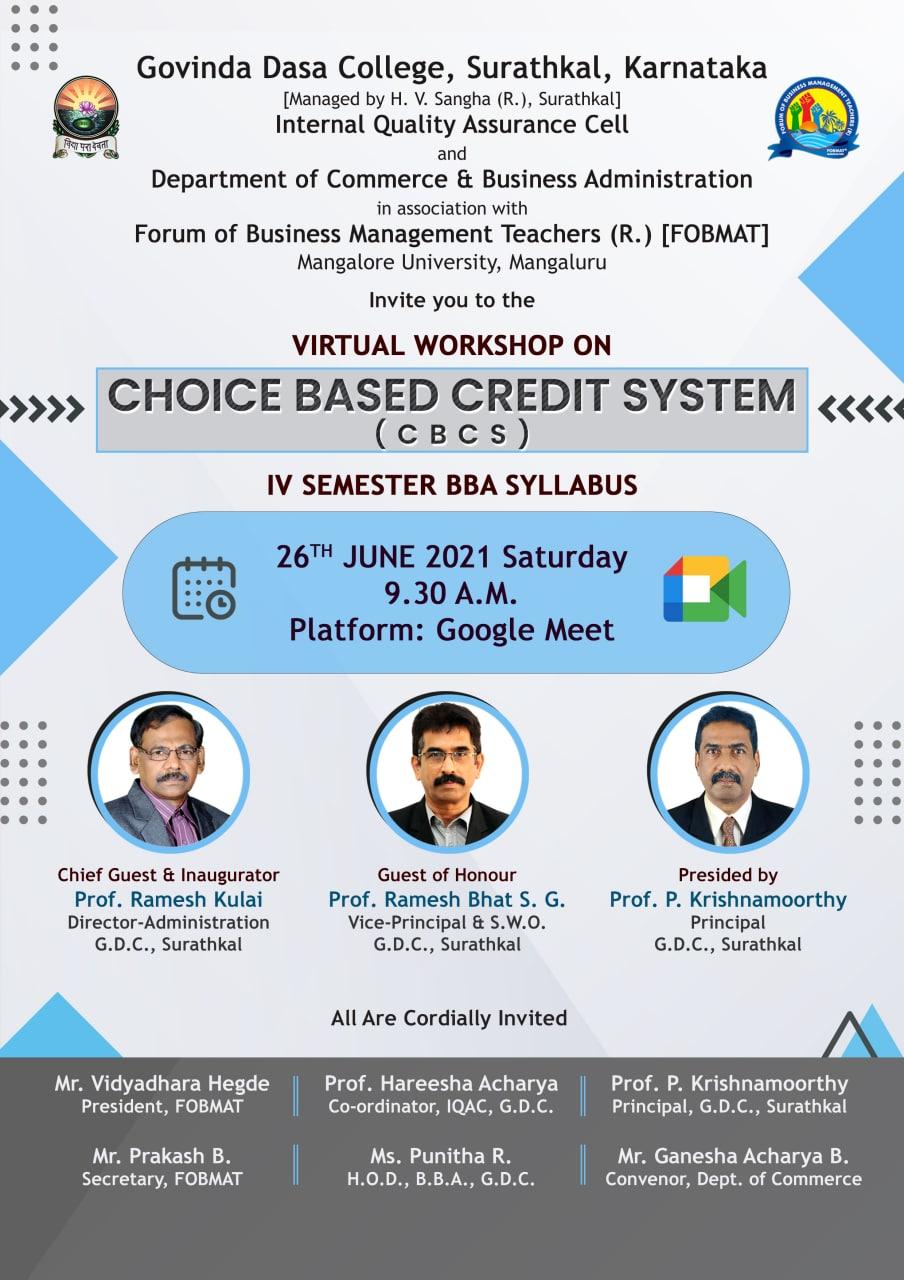 Virtual Workshop on Choice Based Credit System (CBCS) IV Semester BBA Syllabus-2021