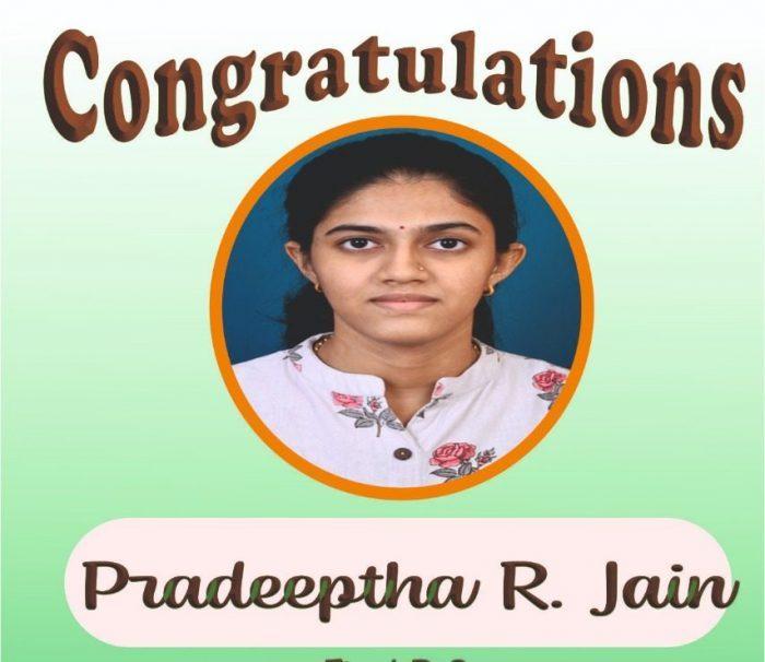 College Congratulates Pradeeptha.R.Jain(On cracking IIT JAM and recipient of Inspire scholarship)